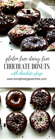Simple gluten free and dairy free chocolate cake donuts. Perfect treat for your donut craving. Swap 4 eggs for cup aquafaba. Gluten Free Recipes For Breakfast, Gluten Free Sweets, Gluten Free Baking, Dairy Free Recipes, Vegan Recipes, Chocolate Cake Donuts, Dairy Free Chocolate Cake, Chocolate Chips, Chocolate Glaze