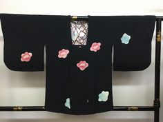 "Japanese Michiyuki coat "" Tobi Shibo Camellia "" silk kawaii black coat by…"