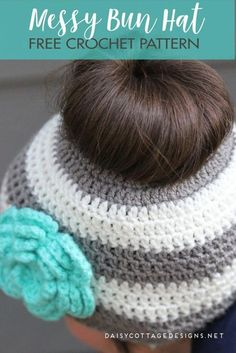 Crochet Hats Design Ponytail Hat Crochet Pattern/Messy Bun Hat Pattern - Daisy Cottage Designs - The hottest thing in crochet, this ponytail hat crochet pattern is all the rage right now. Use this messy bun hat as the perfect gift this winter. Bonnet Crochet, Crochet Beanie, Crochet Hats, Crochet Messy Bun Hats, Crochet Simple, Free Crochet, Motifs Beanie, Crochet Stitches, Crochet Patterns