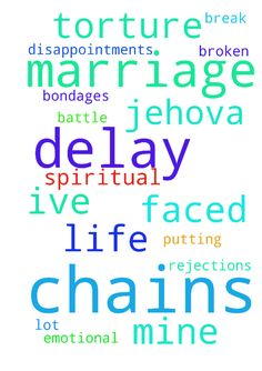 I need the chains of delay in marriage - I need the chains of delay in marriage to be broken in my life. Ive faced a lot of rejections and disappointments and this has been an emotional torture. I need Jehova to break every chains and spiritual bondages putting me down for the battle is not mine. Amen Posted at: https://prayerrequest.com/t/w7m #pray #prayer #request #prayerrequest