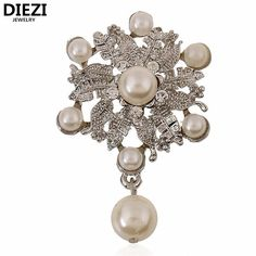 DIEZI Luxury Silver Flower Austria Crystal Pear Charm Water Drop Brooches Pin Women Costume Jewelry Wedding Bouquet Brooch #Affiliate