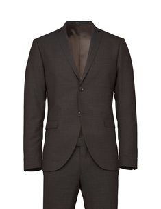 Men's slim-fit suit in rustic tropical wool. Blazer with notch lapels, two-button closure and side vents at back. Comes with Gordon trousers featuring low rise, slim leg and slim fit.