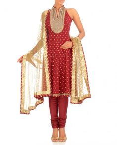 Exclusively.In Rosy Red Anarkali Suit with Bejewelled Yoke