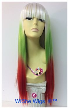 The color wig - synthetic fiber long straight ombré color wig - white, green, red