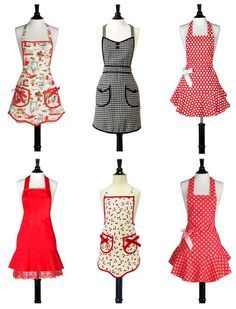 The embellishments on these aprons are great inspiration for making or dressing up a simpler colored one. These may clash with the dresses a little too much.
