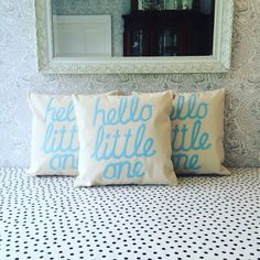 Hello little one appliqué cushion cover in baby by CheekySewEtSew