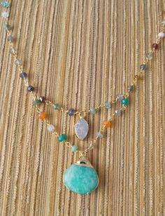Amazonite and petite Druzy with Multi Gemstone by JenniferParzych