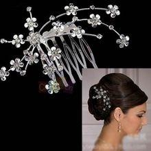 Novia accesorios para el cabello placa hecha suministros banquete de boda nupcial estrellada Rhinestone Tiara Comb del pelo(China (Mainland))