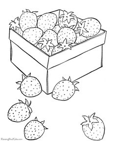 Morangos Pintar Strawberry Coloring Sheet