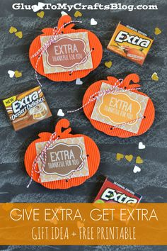 Adorable pumpkin gift tags to add to your Extra gum!