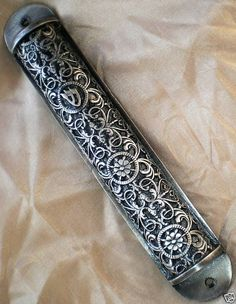 "6.5""  DECORATED PEWTER MEZUZAH CASE"