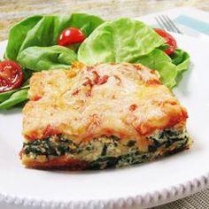 Spinach Lasagna-   Good For:  Bone Health Type 2 Diabetes Eye Health Mood Skin PMS Memory Heart Health Teeth Cancer Prevention