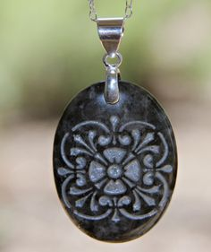 Tree of life natures mother necklace all natural engraved medallion engraved stone pendant necklace by terra rustica design available in my etsy shop mozeypictures Image collections