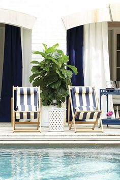 Blue and white broad stripes on chairs and chinese porcelain table/stool