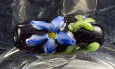 Embellished Floral Lampwork Bead  Blue Floral by BlueSkyBeadsinc