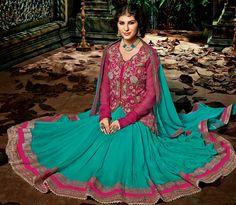 Pink Chinon Designer Anarkali Suit 56047