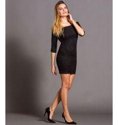 Έξωμο Πλεκτό Κοντό Φόρεμα  - Μαύρο Black, Dresses, Fashion, Vestidos, Moda, Black People, Fashion Styles, The Dress, Fasion