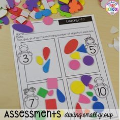 Counting assessment with stickers! Organization HACKS to make student portfolios and assessments easier. For preschool, pre-k, and kindergarten. Numbers For Kids, Numbers Preschool, Preschool Printables, Preschool Classroom, Preschool Learning, Preschool Ideas, Teaching Ideas, Classroom Setup, Teaching Strategies