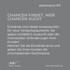 #salesimpuls #11 - Einwände sind ideale Ansatzpunkte für neue Verkaufsargumente! www.martinlimbeck.de