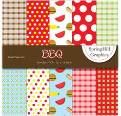 Instant Download BBQ Barbecue Picnic Digital by SpringHillGraphics, $4.00