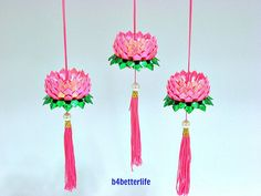 Lot of 3pcs Mini Size Deep Pink Color Origami Hanging Lotus. (RS paper series). #FLT-149.