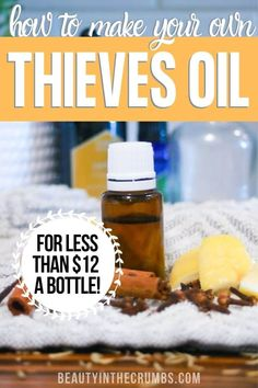 Make your own Thieves oil blend for under 12 a bottle without compromising the quality. This DIY Thieves oil recipe is potent and will save you over 20 Thieves Essential Oil, Essential Oil Blends, Thieves Oil Recipe, Theives Oil, Make Your Own, Make It Yourself, Cleaning Recipes, Cleaning Tips, Cleaning Spray