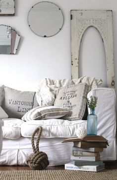 decor, interior design, pillow, design homes, living rooms, couch, cottage chic, beach cottages, shabby chic