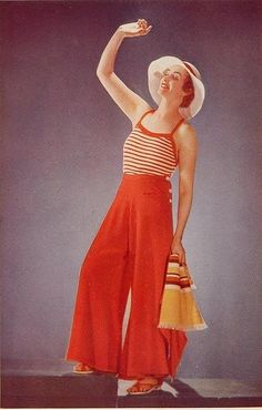 Nautical fashion, I love this , I've always thought the wide legged pant is so chic, even when look is casual:-) Vintage Fashion Inspiration For Vintage Expert Kate Beavis 1930s Fashion, Retro Fashion, Vintage Fashion, Womens Fashion, Victorian Fashion, Fashion Fashion, Vogue Vintage, Vintage Mode, Vestidos Vintage