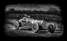 """Philippe """"Phi-Phi"""" Etancelin on his way to winning the 1930 French Grand Prix in Pau, driving his 2-litre supercharged Bugatti Type 35C.  My first scratchboard illustration 7""""x 5"""" (17.8cm x 12.7cm) © Paul Chenard 2010"""