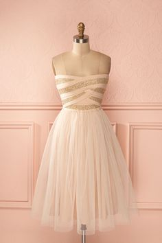 Danijela - Baby pink tulle and golden bustier dress