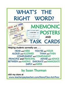 This 18-page collection highlights ten pairs of words that are commonly confused and misused. The first ten pages are printable, easy-to-read posters that give mnemonics to easily remember the difference between the words and examples of the words used correctly. Next are printable task cards, a fill-in-the-blank answer sheet, and an answer key. $7