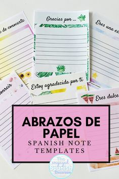 Various printable note templates for Spanish class. Perfect for students or colleagues! Study Spanish, Spanish 1, Spanish Lessons, Spanish Teacher, Spanish Classroom, Teaching Spanish, Spanish Activities, Writing Activities, Teacher Lesson Plans