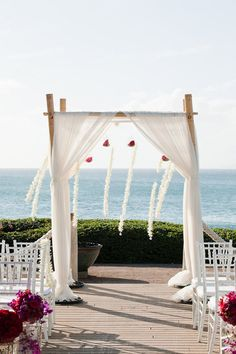 wedding canopy with white drape white orchid strings amp glass globes filled with red flowers: day orchid decor