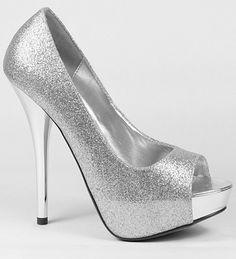 Silver glitter peeptoe platform stilletos #party