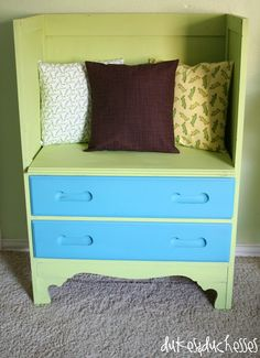 an old dresser repurposed into a reading bench