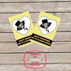 ON SALE Instant Download Batman Valentine's Day Cards DIY Printable Party Chevron Heart Super Hero Valentine