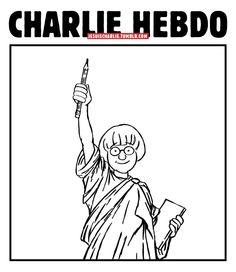 #Cabu croqué en Statue de la Liberté par Vincent Desmond #hommage #JeSuisCharlie
