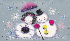 1960s Christmas Card Snow Couple | Flickr