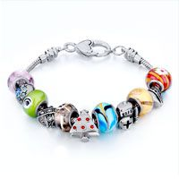 Pugster Metal And Murano Glass Mixed Style Pandora Beaded Bracelet