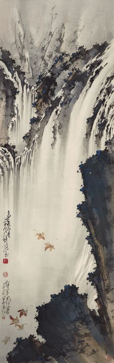 Zhao Shao'ang (1905-1998) FALLING LEAVES BY THE WATERFALL signed SHAO'ANG twice, dated 1939, inscribed twice, with a dedication, three seals of the artist, and one collector's seal ink and colour on paper, hanging scroll 129.3 by 41 cm. 50 7/8 by 16 1/8 in. 趙少昂 霜葉飄颺百丈泉 (1905-1998) 設色紙本 立軸 一九三九年作 款識: 己卯夏六月。少昂於蟬嫣室。 紹文吾兄雅愛。己卯之秋少昂再題。 鈐印:「少昂」、「趙」、「少昂」。 藏印:「紹文過目」。 129.3 by 41 cm. 50 7/8 by 16 1/8 in.