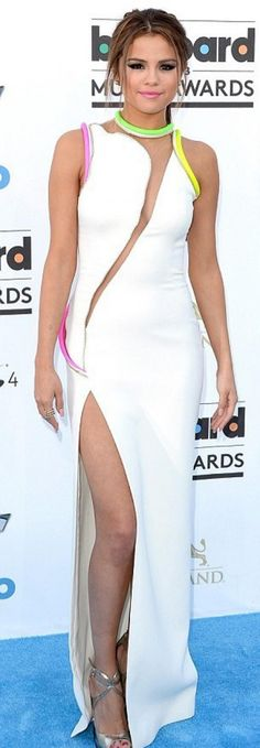 Selena Gomez looking perfect in her white Atelier Versace frock at the Billboard Awards 2013