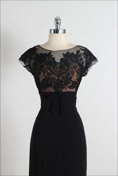 Vintage 1940s Peggy Hunt Illusion Cocktail Dress