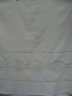 Antique French Linen Monogram RF Cluny Lace. by JacquelineMcEwan, €65.00