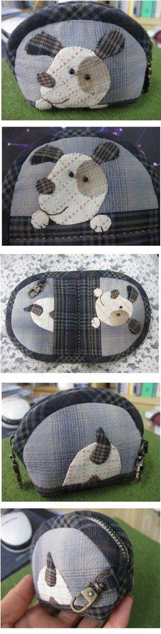 Puppy applique. ♡ 퀼트의 美를 전하는 『 http://퀼트미 』 입니다. ♡ - [동물 지퍼 동전지갑 (강아지)]