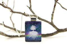 Tree of Life Dichroic Glass Pendant by tnglassstains on Etsy