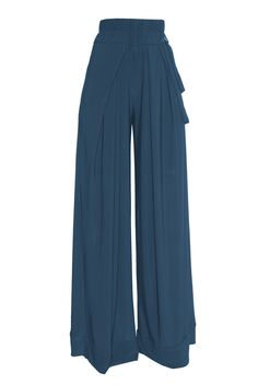 Wide leg pants/ high waist trousers /  TEAL  jersey via Etsy.
