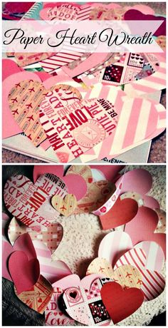 DIY Paper Heart Wreath for a Valentines day craft | http://www.sassydealz.com/2014/02/easy-paper-heart-valentines-day-wreath.html