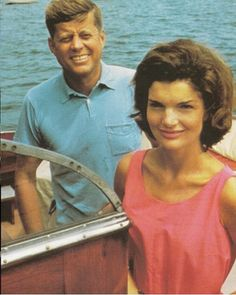 Jackie and JFK on a boat in Hyannis Port, Massachusetts.