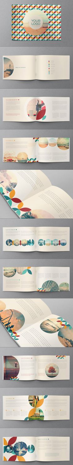 A cool business brochure. The layout focuses on a repetition of circles that flow throughout the design with ease. A very nice clean cut design.