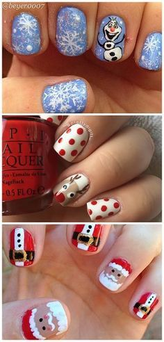 Cute winter and christmas nail ideas (find olaf, reindeers, penguins Christmas Nail Designs, Christmas Nail Art, Holiday Nail Art, Reindeer Christmas, Christmas Morning, Christmas Design, Winter Christmas, Christmas Ideas, Fancy Nails